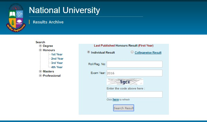 NU 1st year honours result