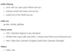 Data Entry Job Circular- HSC/ Bachelor degree in any discipline
